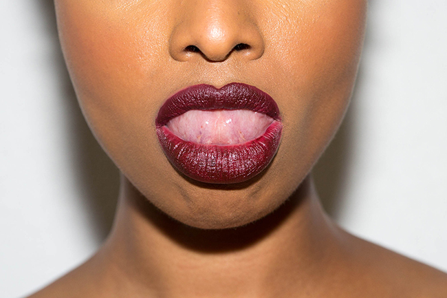 AJ Crimson lipstick review, dark red lipstick on black women